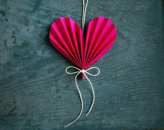 Happy Mother's Day  Heart,  Hot Pink Paper Ornament, Valentine's Day Gift, Paper Anniversary Wedding Gift