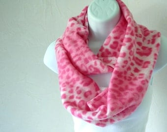 Warm and Cozy Fleece Infinity Scarf in Pink Cheetah Animal Print Handmade by Thimbledoodle