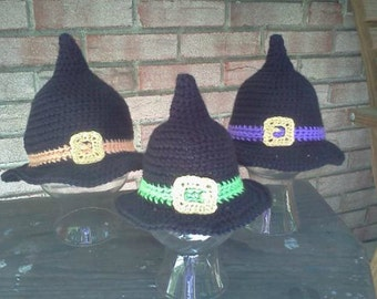 Classic Witch Hat with Colored band- MADE to ORDER- Newborn to Adult sizes- Photo prop, costume, Halloween