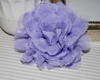 "Chiffon Lace Flowers 2 count Lavender 3.75""  fabric flowers  Shabby Chic Frayed Chiffon mesh &  Lace Rose Flower hair brooch headband flower"