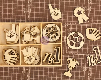 Wood Icons in a box - Prima Sports All Star 569747 - Die cut wood pieces (36 pcs) vintage small laser wood embellishments cut outs