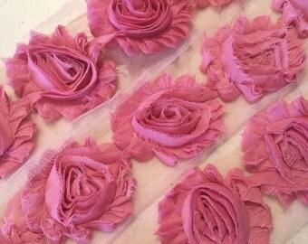"Dusty Rose Pink Shabby Rose Trim 2.5"" Shabby Flowers Shabby Chiffon Flowers - Solid Shabby Chic Trim Wholesale Rosette trim 6cm 1 yard #408"