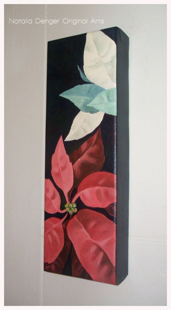 Poinsettia, Original Painting, Poinsettia, Flowers, Red, Black, Holiday Art, Red Poinsettia