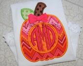 Girls or Boys Monogrammed Pumpkin Patch Tee T Shirt Applique Thanksgiving