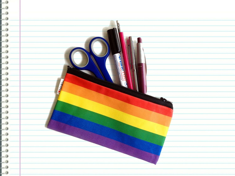 Back To School SALE RAINBOW colors pencil case zipper pouch