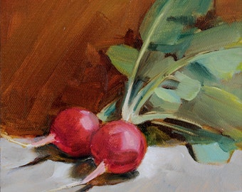 Two Radishes on Gray and Brown