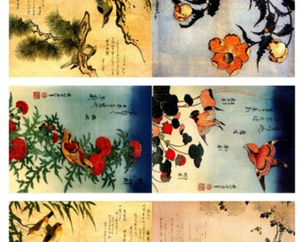 Asian Backgrounds, assorted vintage backgrounds collage sheet - Digital Download JPG File by Swing Shift Designs