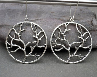 Mother's day gift Large hoop earrings Silver hoop earrings branch earrings charm jewelry large boho earrings modern earrings dangle earings