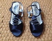 Deadstock 80s does 60s Black Satin Rhinestone T strap Sandals Pumps Ruffles // Burlesque / Prom Dance shoes/Cocktail Party/60s Mod -  7.5WW