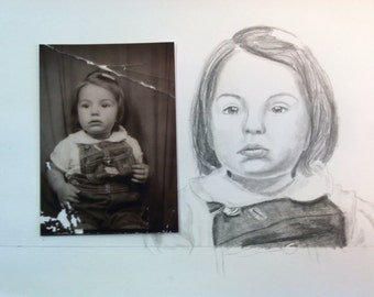custom drawing from photo pencil portrait