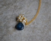 Blue Ruby and Pearl Necklace
