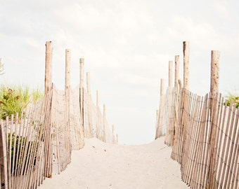 "Beach Photography - dune photo fence pale neutral seashore light white cream brown coastal art print nautical photograph, ""Beyond the Dunes"""
