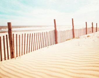 "Beach Photography - beach dune photo fence sand seashore pastel white cream blue coastal wall print - 11x14, 8x10 Photograph, ""Beach Dune"""