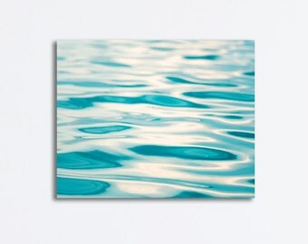 "Ocean Canvas Wrap - large water ripples aqua blue sea beach wall art waves gallery teal white abstract nautical decor, ""Poetry in Motion"""