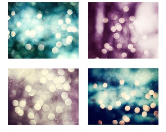 Bokeh Lights Photo Set, sparkle photography sparkly circles print set teal blue turquoise purple dark plum beige brown circles photograph