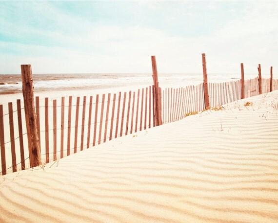 "Beach Photography - beach dune photo fence sand seashore pastel white cream blue coastal wall print - 11x14, 8x10 Photograph, ""Beach Dune"""