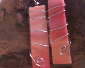 OOAK variegated orange stained glass earrings