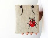 iPad case - iPad Air 1 2 - Galaxy Tab 10.1 - Ladybug - Hand embroidery - Romantic