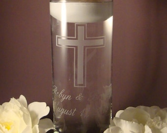 Personalized Etched Cross Wedding Unity Candle Vase - Wedding Unity Ceremony - Unity Vase - Religious Unity Ceremony