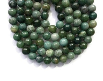 Green Moss Agate - 12mm Round Bead - 32 beads - Full Strand