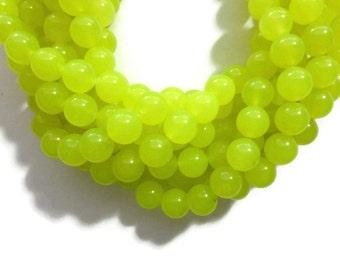 Lemon Lime Jade - 10mm Round Bead - Neon Yellow - Full Strand - 39 beads - bright chartreuse translucent stone