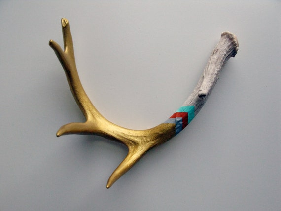 Gold, Gray, Orange & Aqua Chevron Painted Antler - Medium