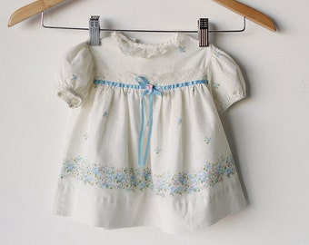 vintage baby GIRL newborn SUNDAY white and blue 9 month old bow and flower dress