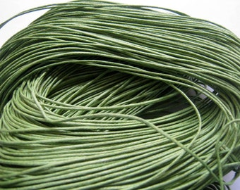 25 ft Green Waxed Cotton Cord 1mm