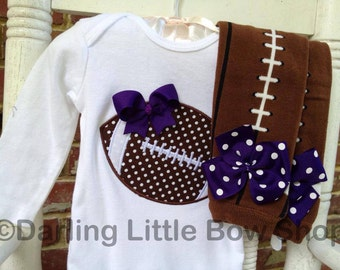 Baby Girl Football outfit -- Football Princess -- polka dot football bodysuit and leg warmers - CHOOSE colors to match YOUR TEAM