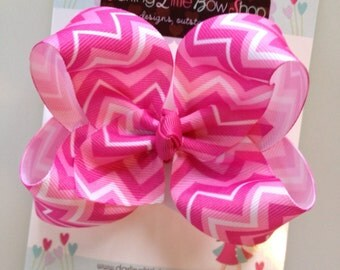 Chevron Bow -- hot pink chevron bow -- large boutique bow