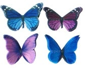 Cupcake Toppers - Edible Butterfly Cake Decorations in Blue and Purple - Kids Cakes, Wedding Cakes, Birthday Cupcakes