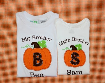 TWO Personalized Applique Fall Initial Big/Little brother sister Pumpkin Long/Short sleeve onesie or tshirt