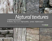 "Digital Paper + Natural textures  + Scrapbook Quality Paper Pack  (8.5x11""- 300 dpi)   8 sheet pack paper  032 + Instant Download +"