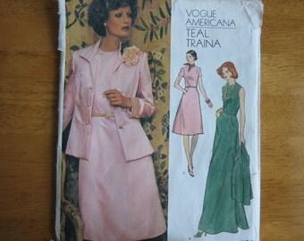 Vintage Vogue Americana Pattern 1184 TEAL TRAINA Misses' Jacket and Dress  1970's  Uncut