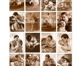 Digital Clipart, instant download, Vintage Victorian Lovers Love Couples Kiss Sepia clip art, Digital Collage Sheet (8.5 by 11 inches) 617
