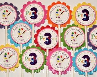 Artist Painting Theme Art Birthday Cupcake Toppers Rainbow Colors