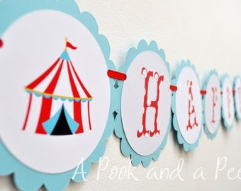 Polka Dot Big Top Circus Personalized Happy Birthday Banner in Red Light Blue Teal Customizable for Showers