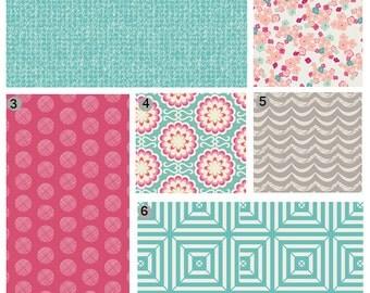 Baby Girl Crib Bedding, Pink Teal and Grey Baby Bedding Set, Floral Crib Bedding