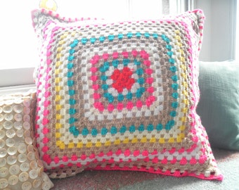 SALE 50% off Large crochet retro style cushion cover with vintage floral back