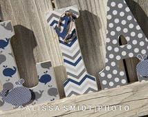 Nautical Nursery Letters, Custom Wooden Letters - Nautical Theme Custom Letters, 9 Inch Size (whale, boat, crab, anchor, navy, grey, blue)