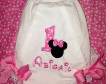 Personalized  MINNIE MOUSE BLOOMERS First Birthday Party, Diaper Cover, Pink