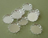 Cabochon Cameo Settings  Round Bezel Lace Edge Silver Plated Brass 15mm