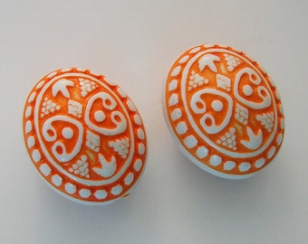 Vintage Etched Mosaic Orange and White Beads 25mmx20x17mm.
