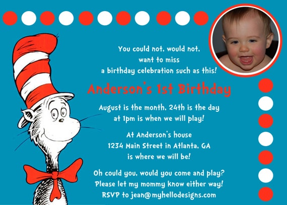 Dr. Suess Cat in the Hat Inspired Invitation with or without Photo