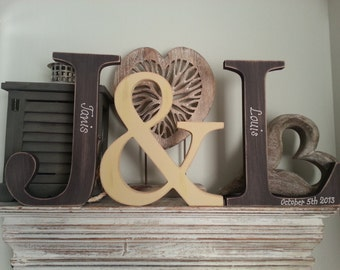 Set of 3 - Handpainted Wooden Freestanding Wedding Letters, Photo Props -25cm