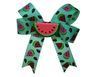 Mint Green Pink Watermelon Slice Hair Bow