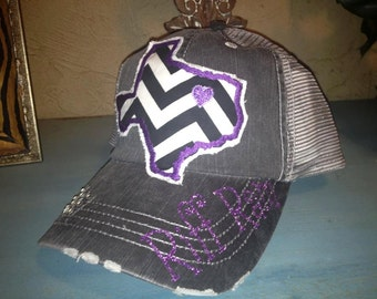 TCU Texas Christian University State Baseball Bling Ladies Womens Trucker Hat