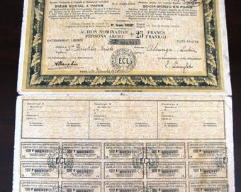 OLD BOND : France Central Library Loan Bond Stock 25 francs 1926
