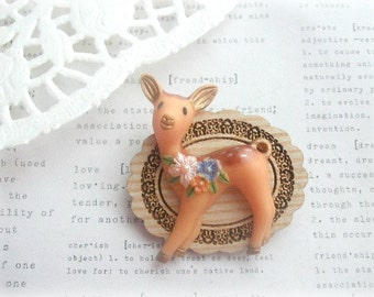 Wooden Frame with Bambi Deer Brooch