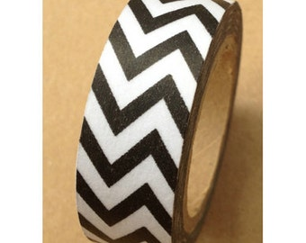 Washi Tape Black Chevron Washi Tape 11 yards 10 meters 15mm Chevron tape Classic Chevron Design